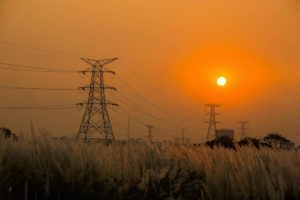 Electricity pylons of the National Grid . Dhaka, Bangladesh