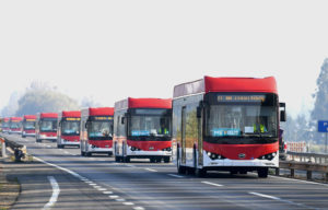 electric buses manufactured by Chinese company BYD heading for Santiago, Chile