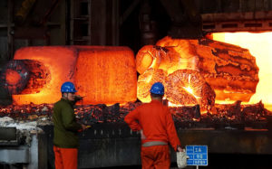 A steel factory in northeast China's Dalian