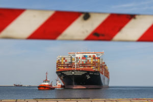 The largest container ship in the world entering the Port of Gdansk, Poland