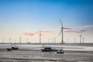 wind turbines in seashore china