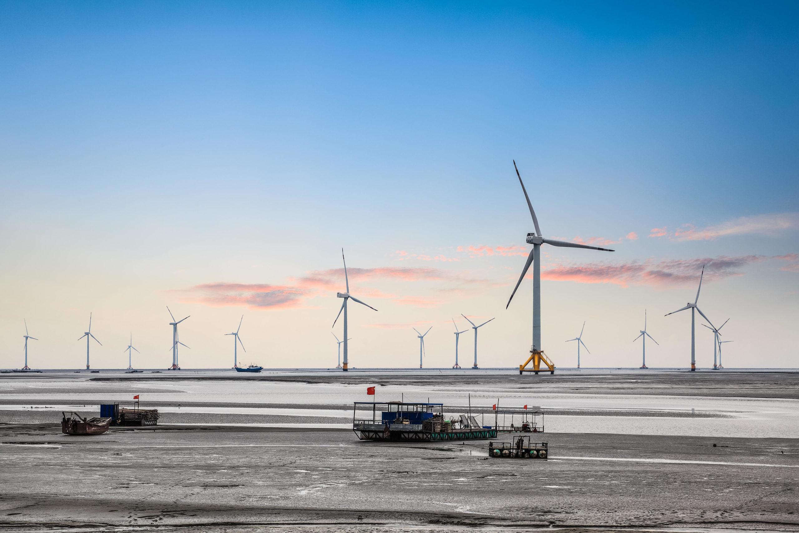 wind turbines in seashore china