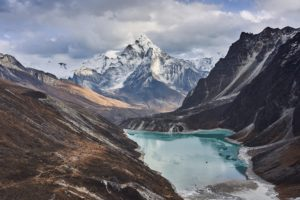 Glacial lake in front of Mountain Ama Dablam