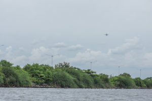 A plane from Manila international airport over Cavite