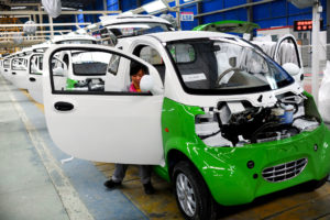 An electric car assembly line in Hangzhou city, east China