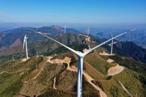 Wind turbines in Liuzhou, Guangxi province
