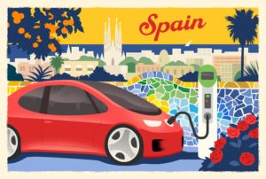 illustration showing electric car charging in spain