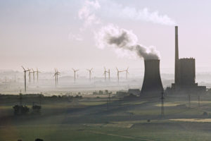 Wind turbines and coal power plant