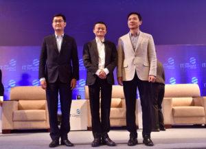 Pony Ma, Jack Ma and Robin Li, the heads of Internet giants Tencent, Alibaba and Baidu, in 2017