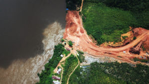 aerial view of bauxite mining indonesia