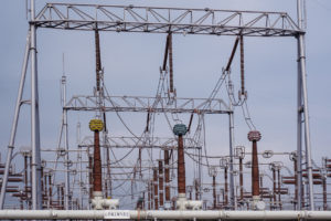 Power lines at Shanghai Fengxian Converter Station