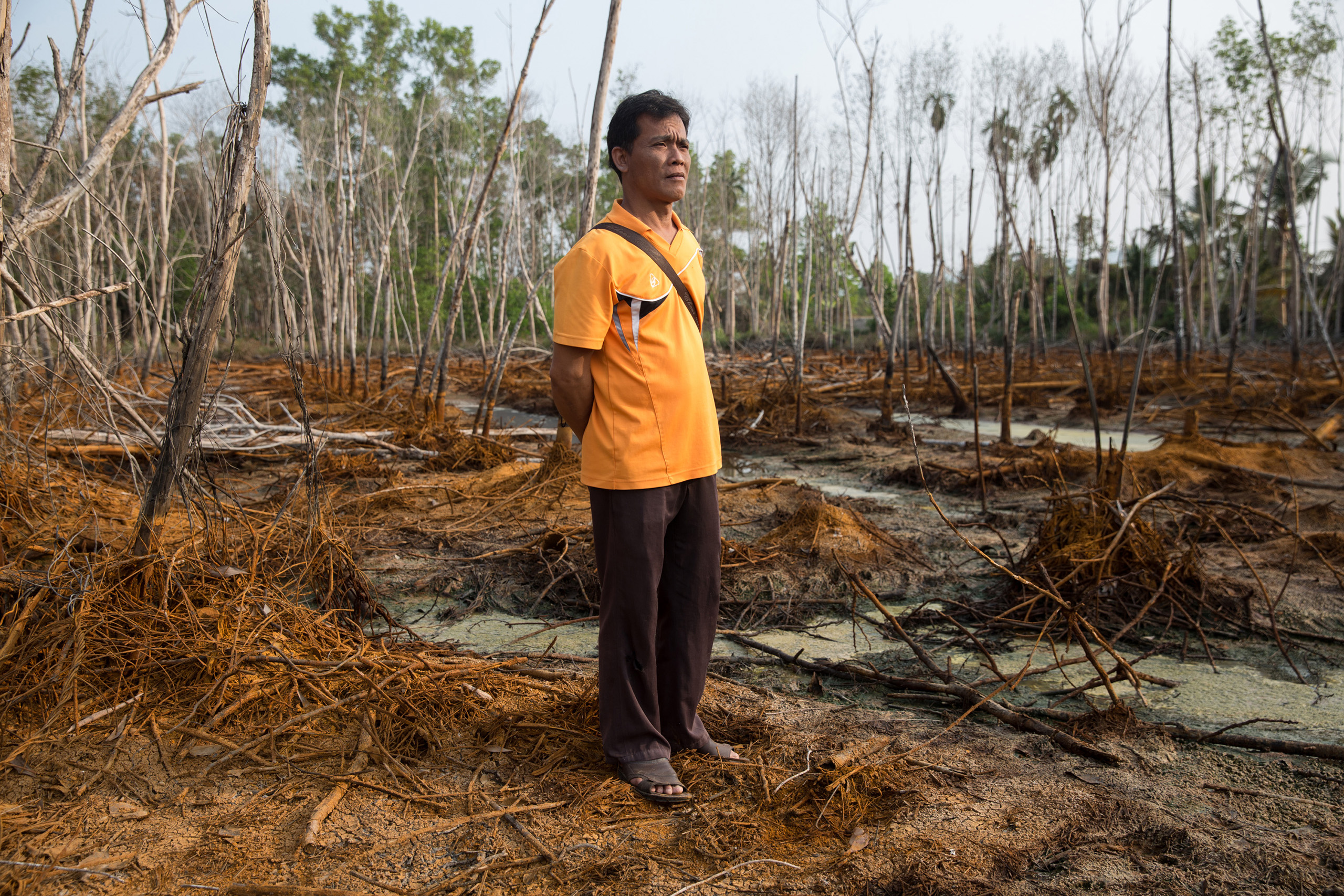 Kh Sanit stands in an area that was previously a rubber plantation but due to polluted water runoff from a nearby factory, everything has died.