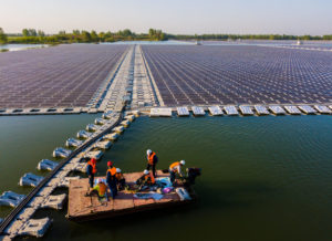 aerial view of floating solar farm in Anhui province, China