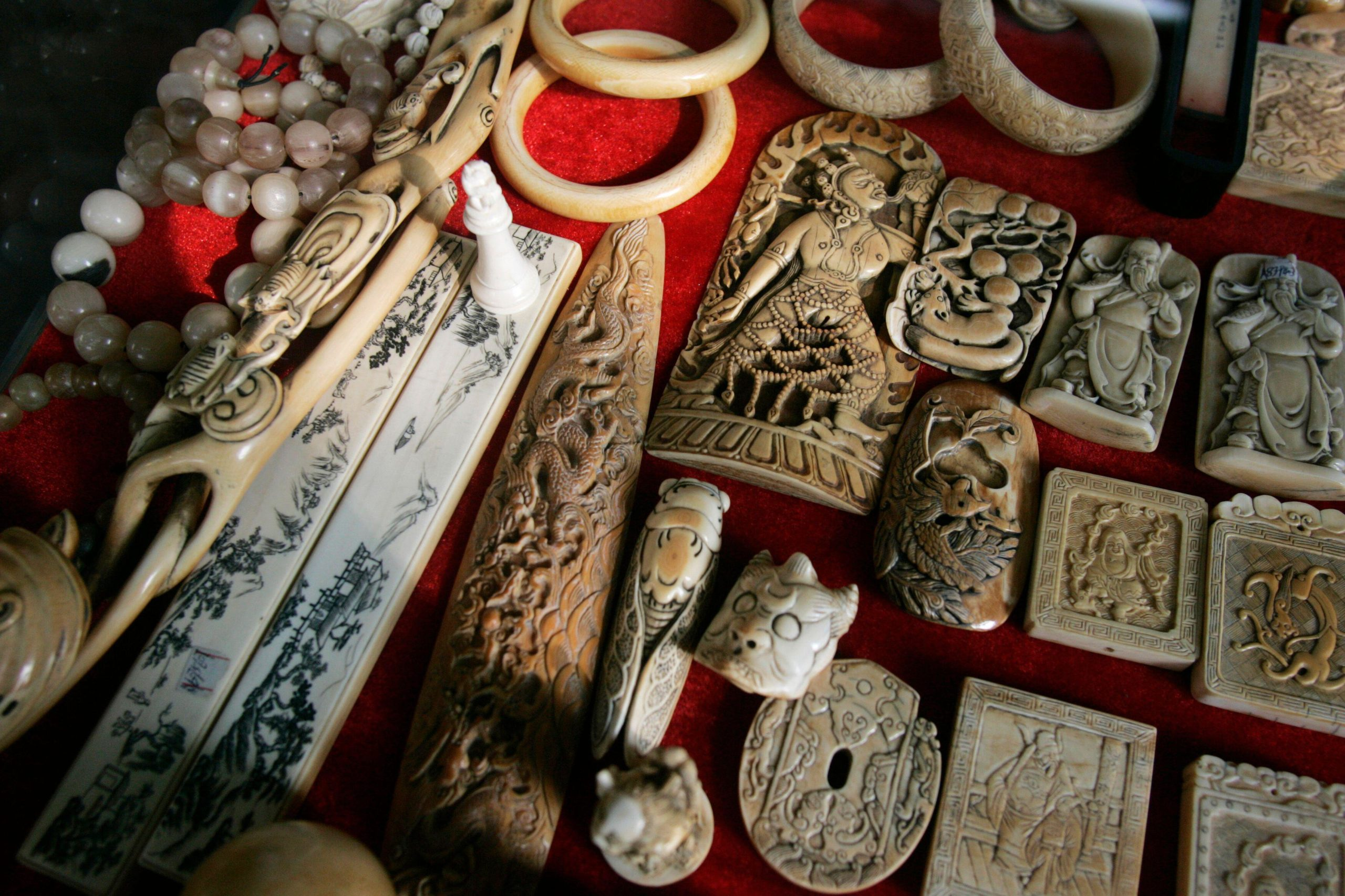 Elephant ivory products displayed at an antique store in Guangzhou, China