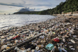Plastic trash and other toxic debris polluting the coastline of Bunaken Island, Sulawesi, Indonesia