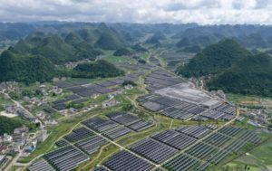 aerial photo of a solar power station in Guizhou province, southern China
