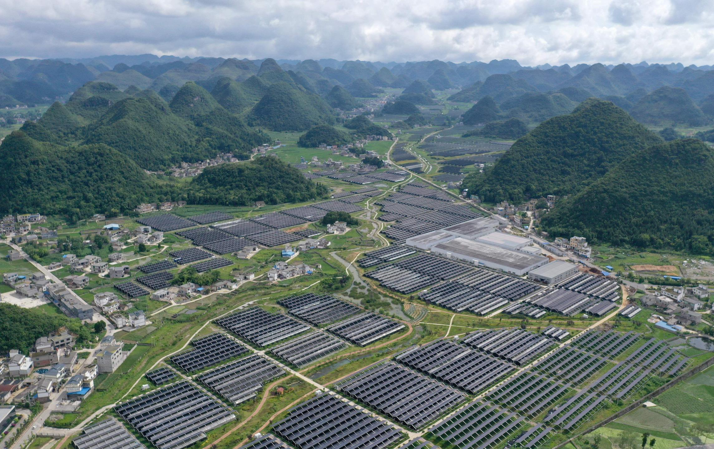 Guizhou province, southern China. Solar power made up just 0.89% of the province's energy mix in 2019 (Image: Liu Chaofu / Alamy)