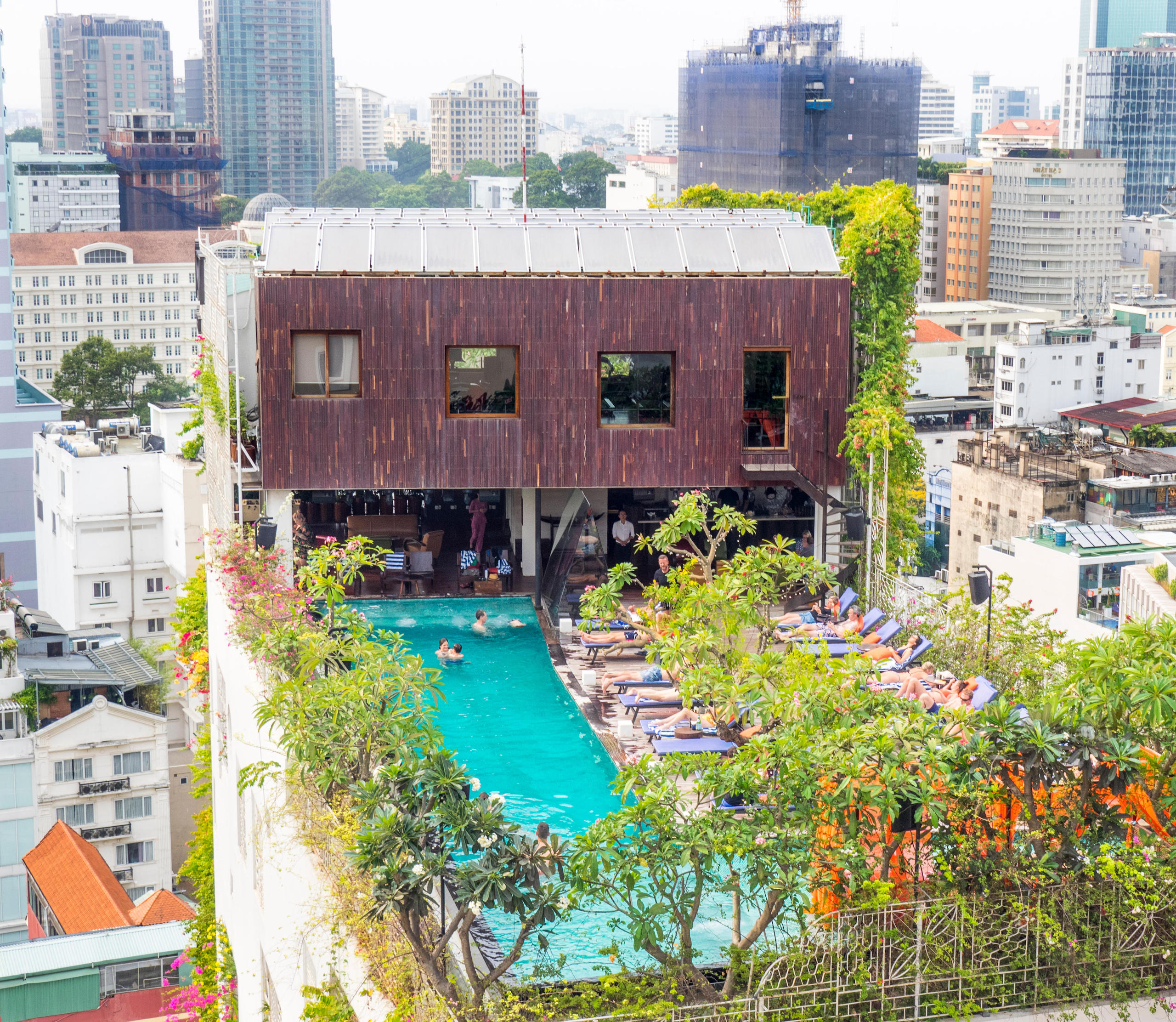 The Myst Dong Khoi Hotel rooftop bar and swimming pool in District 1, Ho Chi Minh City, Vietnam.