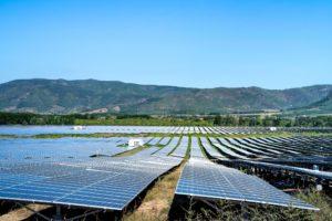 Solar panel farm, photovoltaic farm in Phu Hoa district, Phu Yen province, Vietnam