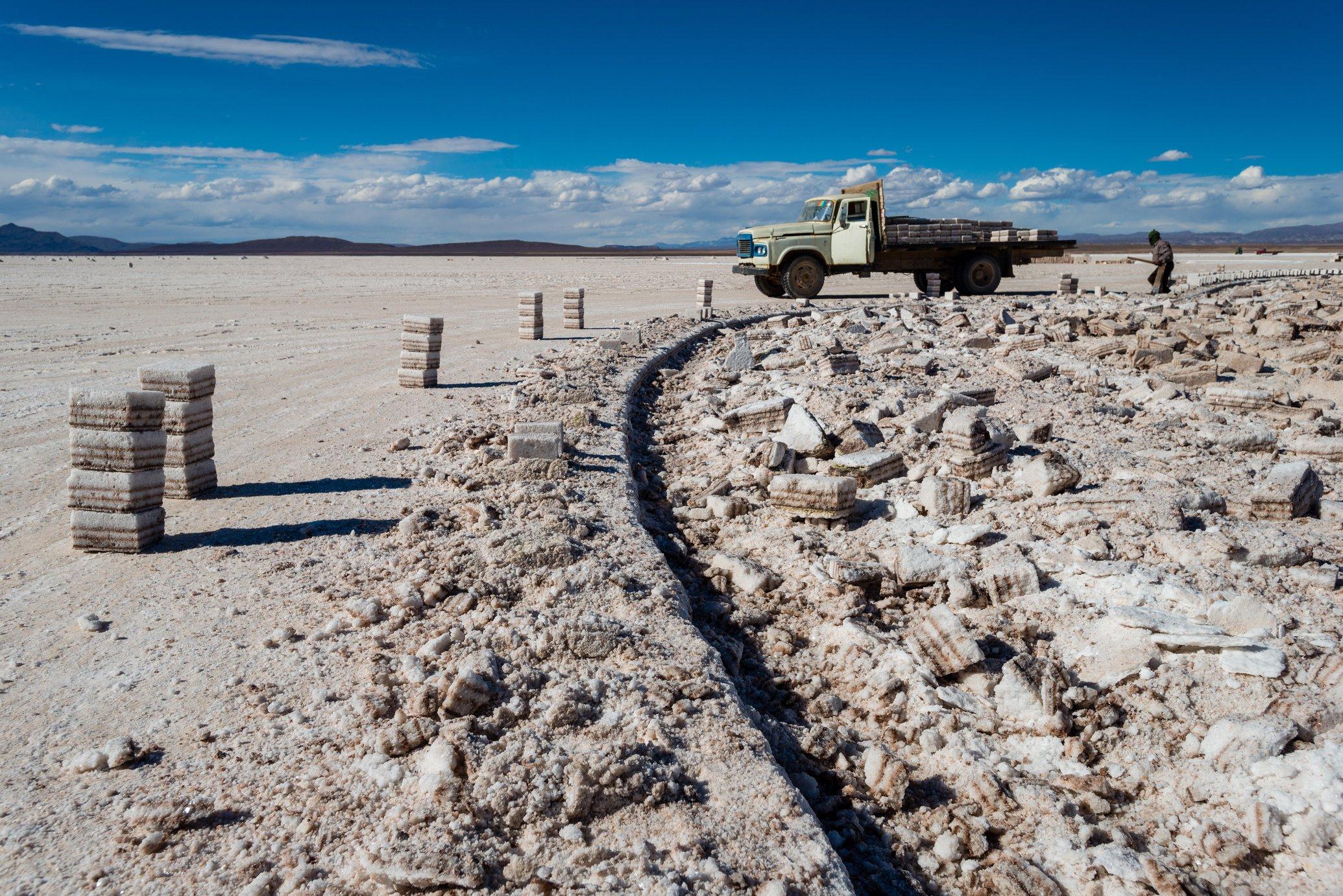 Lithium mining taking place in Salar de Uyuni, Bolivia.