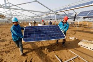 workers install solar panels in Jiangsu