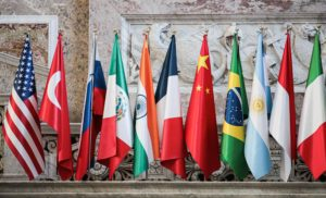 country flags at the G20 climate ministerial meeting, 2021