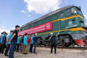 Chinese engineer gives an on-site class at the China Railway No.2 Engineering Group rail-welding yard in Lao capital Vientiane,