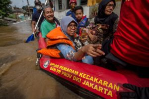 Flooding in South Jakarta, Indonesia. There have been calls from climate-vulnerable countries for the UK to lift the barriers to COP26 entry for their delegates and civil society