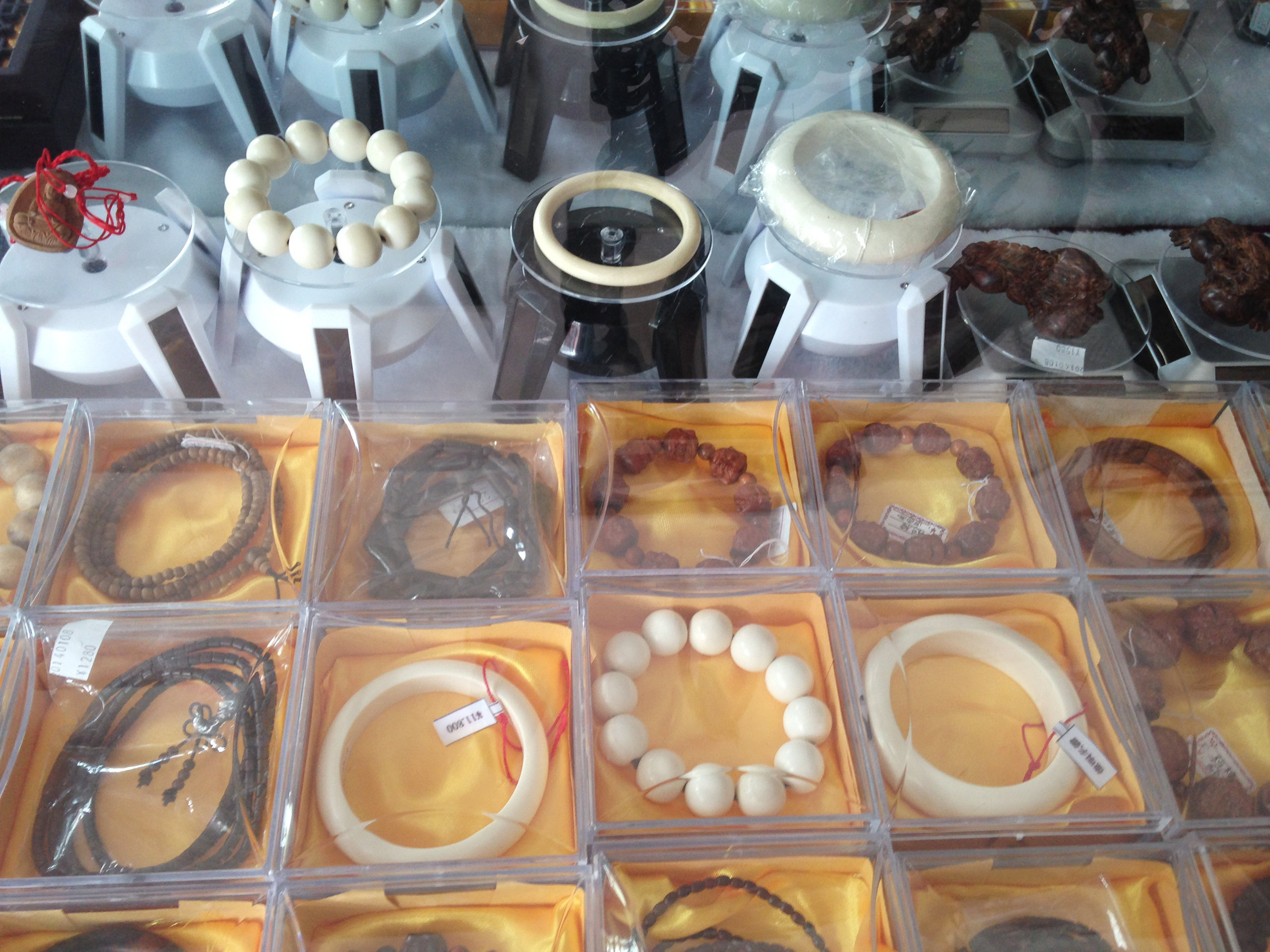 Ivory bracelets sold in Laos' Golden Triangle Special Economic Zone