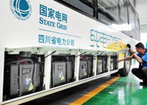 batteries of an electric bus in Chengdu, China