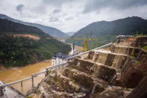 China belt and road: construction site of the Nam Theun 1 hydropower project