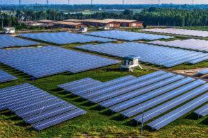 cambodia Solar farm, solar panels aerial view